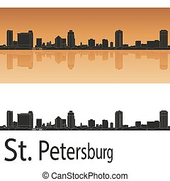 St. Petersburg skyline - St Petersburg skyline in orange...