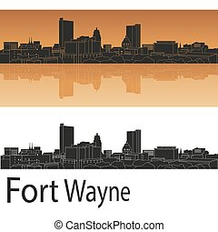 Fort wayne skyline - Fort Wayne skyline in orange background...