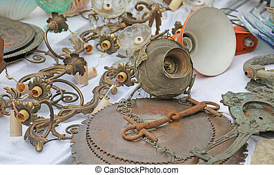 lamp door and antique chandeliers at flea market - lamp door...