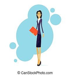 Businesswoman Smile, Standing Hold Folder Full Length...