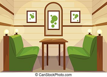Restaurant Table Interior Room Cafe Vector Illustration