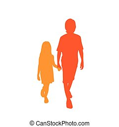 Children Silhouette, Full Length Boy and Girl Holding Hands,...