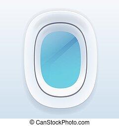 avión, Windows, con, azul, cielo, avión,...