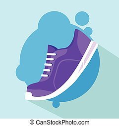 Sneaker Sport Running Shoe Flat Icon Vector Illustration
