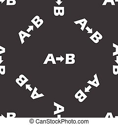 From A to B pattern - Letters A and B with arrow between,...