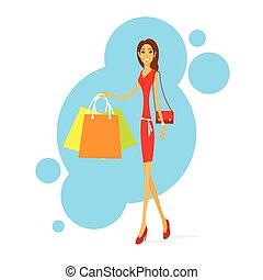 Shopping Woman with Bags Walking Isolated Vector Illustration