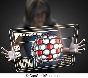 woman and hologram with cell