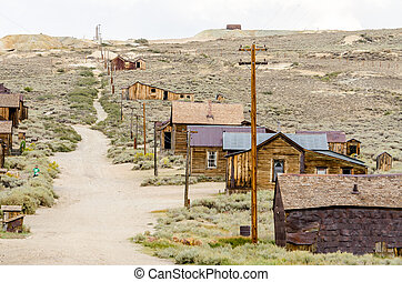Main Street in the Gold Mining Ghost Town of Bodie,...