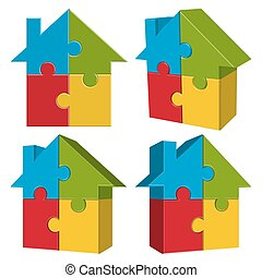 collection puzzle house with four parts - collection of...