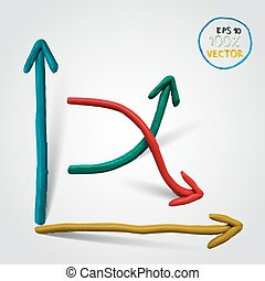 Vector plasticine line chart.