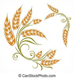 Stylized wheat pattern - Stylized ears of wheat pattern on...