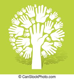 Hands of tree on green