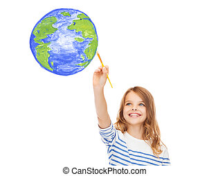 cute little girl drawing with brush planet earth -...