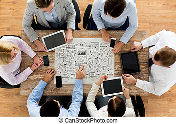business team with scheme meeting at office - business,...