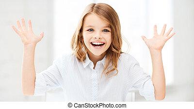 angehoben, überrascht, lachender, m�dchen, Hände