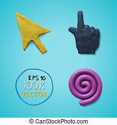 Plasticine colored cursors - Vector illustration cursors...