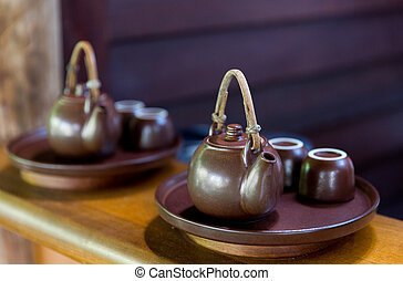 tea-set at asian teahouse - drinks, pottery and asian...
