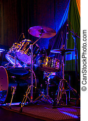drums - group of drums on the stage with some colorful and...