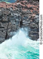 Thunderous waves splashing on cliffs - Treacherous waves...