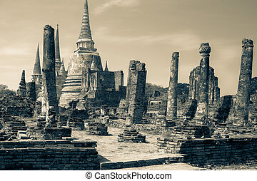 Ruins of ancient palace in Ayutthay