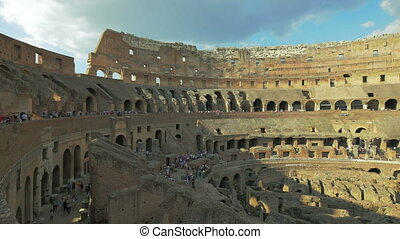 Tourists at Colosseum arena, Rome, Italy, 4k,UHD