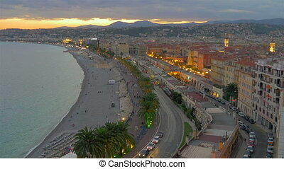 Coastline of Nice at sunset, France