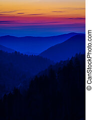 Layered Colors in the Smokies - Multicolored layered mist...