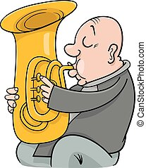 trumpeter musician cartoon illustration - Cartoon...
