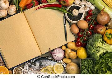 スペース, テキスト,  -, レシピ, 食物, 本, ステープル