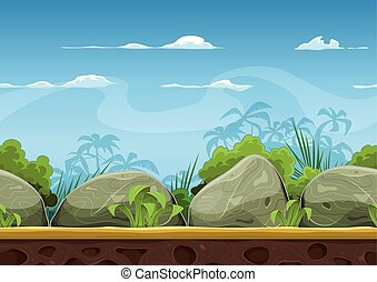 Seamless Tropical Beach Landscape - Illustration of a...