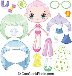 Dress up doll  - Illustration of very cute dress up doll