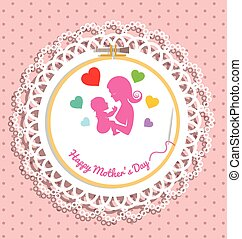 Embroidery hoop with Needlework for mothers day card