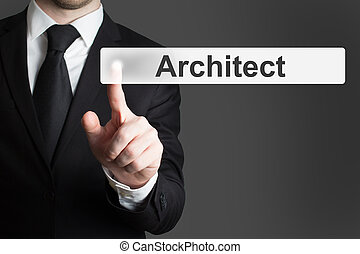 businessman pushing button architect - businessman in black...