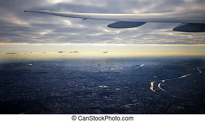 Aeriel view of Paris city - Aeriel view from plane window of...