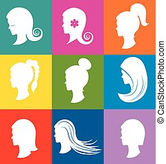 Women heads with beautiful hair