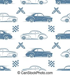 Vintage seamless pattern with cars. - Vintage seamless...