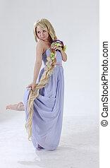 cabelo, princesa, longo, Dançar