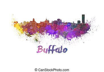 Buffalo skyline in watercolor splatters with clipping path