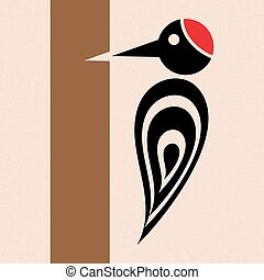 Woodpecker icon - Vector stylized woodpecker icon with tree...