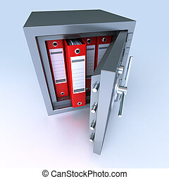 Data protection - 3D rendering of ring binders on a safe...