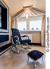 Rocking chair with footrest - Elegant rocking chair with...