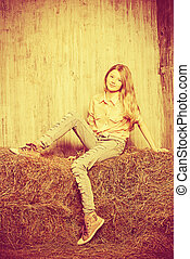 pretty vilage - Pretty girl teenager in shirt and torn jeans...