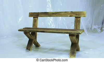 Wooden benches - Place isolated with cellophane and wooden...