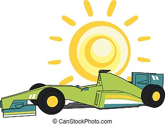 sun and racing car - Creative design of sun and racing car