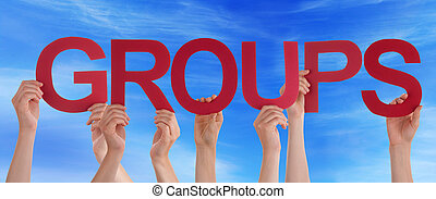 Hands Hold Red Straight Word Groups Blue Sky - Many...
