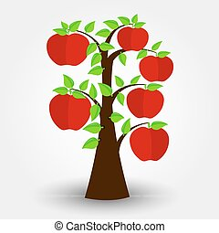 Apple tree isolated on a gray background with shadow....