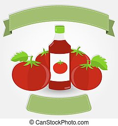 Ketchup bottle and tomatoes - Tomato sauce or ketchup bottle...