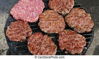 Hamburger grilling, barbecue - Barbecue, preparing hamburger...