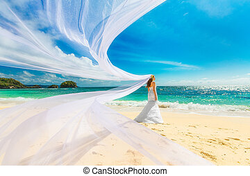 beautiful fiancee in white wedding dress and big long white...