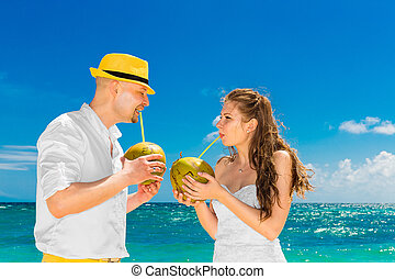 Happy bride and groom drink coconut water on a tropical...